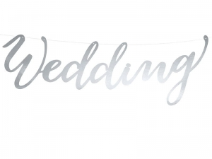BANER WEDDING SREBRNY 16,5x45cm