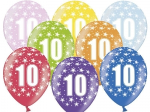 BALON 10th BIRTHDAY MIX 30cm 1szt